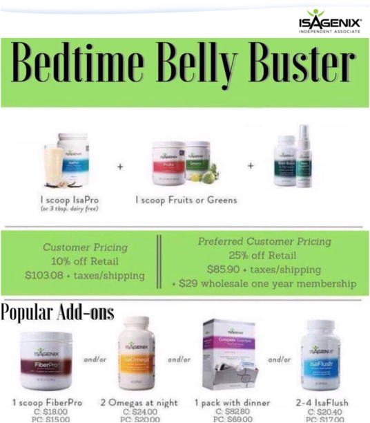 What Is The Isagenix Bedtime Belly Buster Purchase